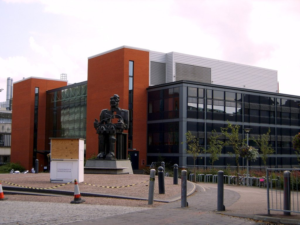 University of Birmingham - The computer science building, in front of it some kind of modern art statue donated on the university's 100th birthday